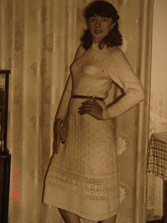 Фото. Винтажное вязаное платье из маминой книги по вязанию 1950х. Связано в 1983 г.