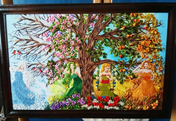 Фото. Картина, вышивка лентами. Автор работы - babuliahak