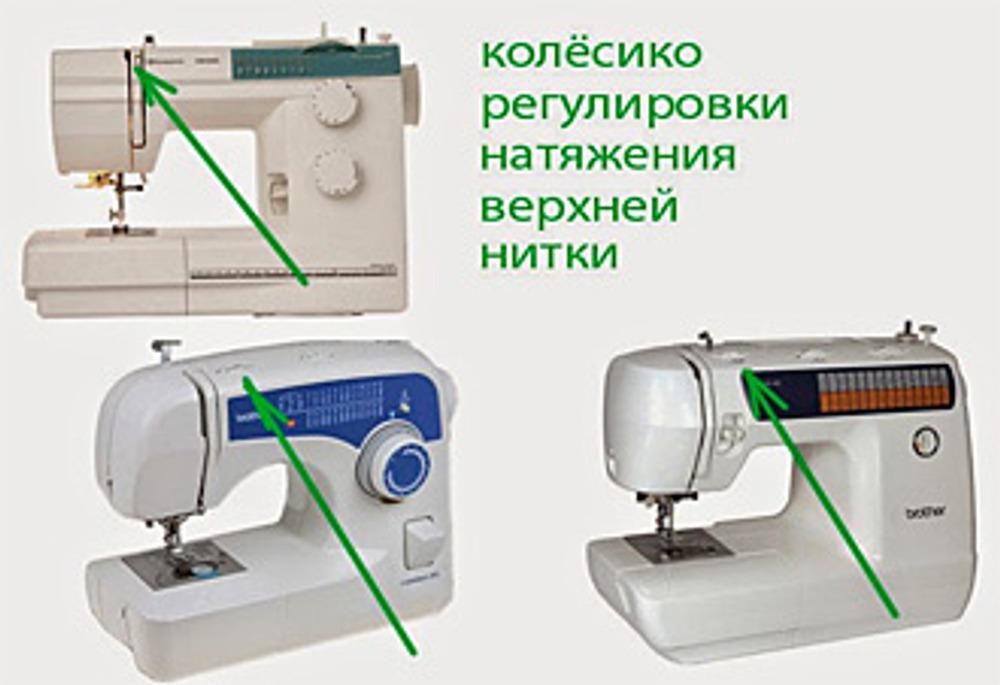 Фото. Регулировка натяжения верхней нити в бытовых швейных машинах.