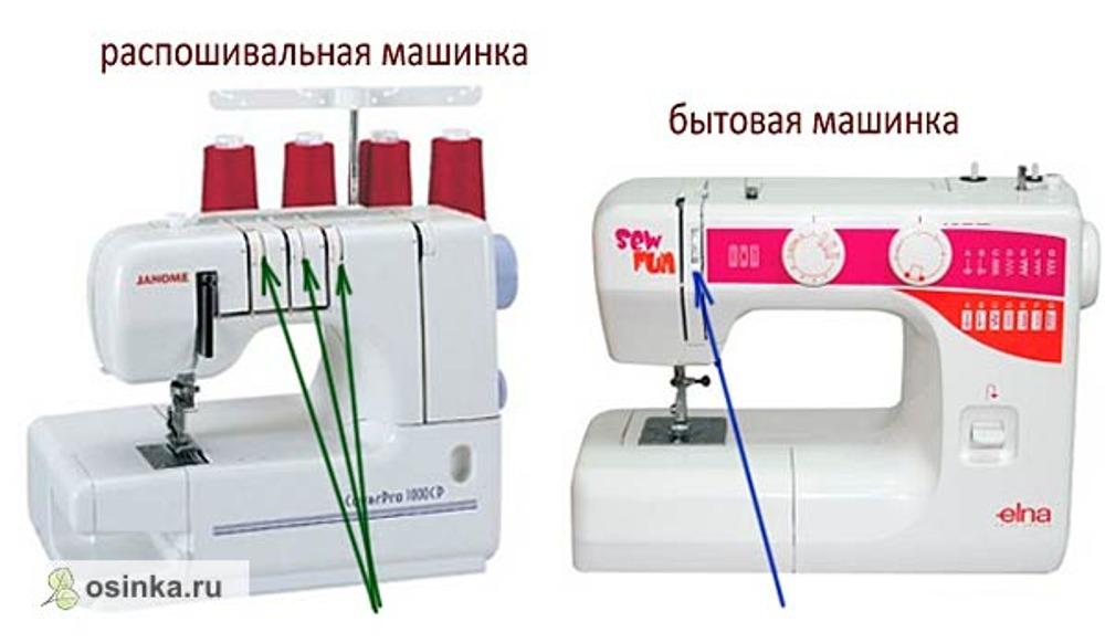 Фото. Распошивальная и бытовая швейная машинки - сходство и различия.
