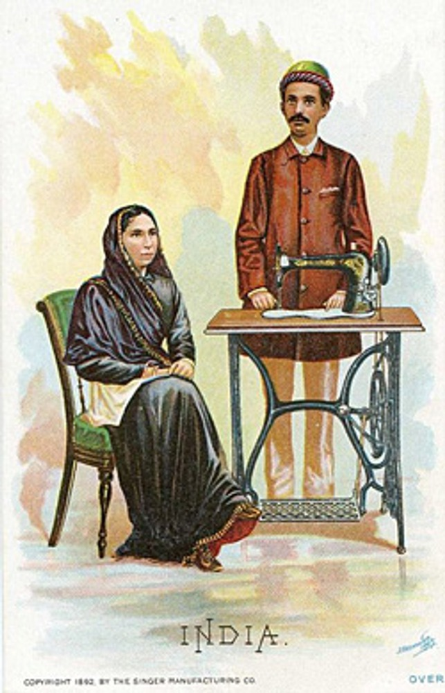 """Фото. Реклама фирмы """"Зингер"""" к Всемирной Выставке 1892 года. Индия."""