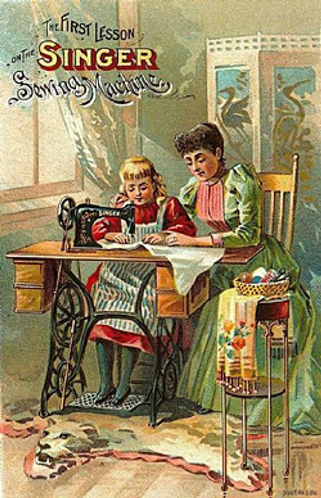 """Фото. Почтовая карточка с рекламой фирмы """"Зингер"""", 1900 г."""