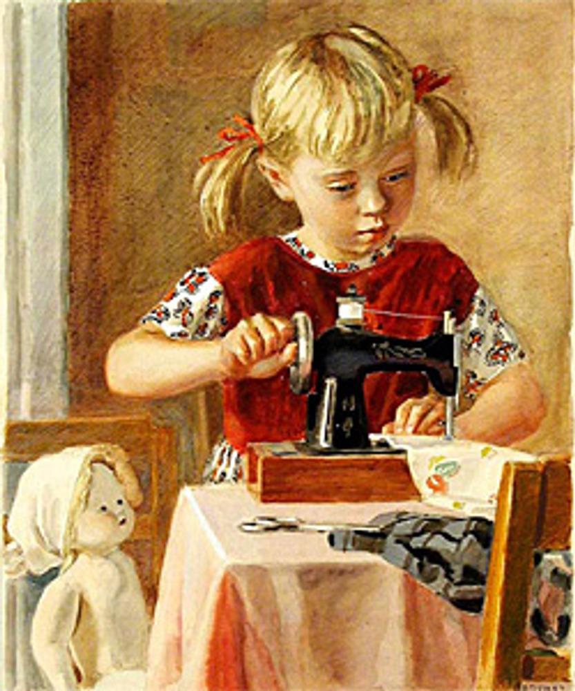 """Фото. А. Пахомов, """"Маленькая швея"""", 1957"""