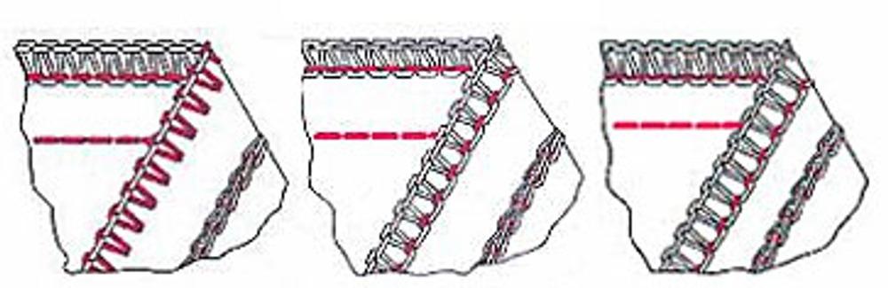 Рис 4. Обметочные швы с параллельной укрепляющей цепной строчкой.
