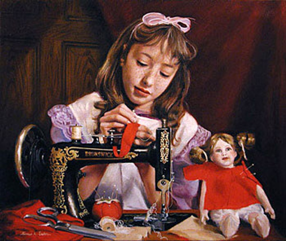 "Рис 1. Thomas Baker, ""The Little Seamstress (In Grandma's Attic)"""